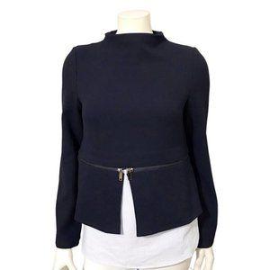 Zara Navy Blue Contrast Pullover Preppy Zip Tunic